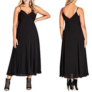 City Chic Black V Neck Smocked Maxi Dress Shirred